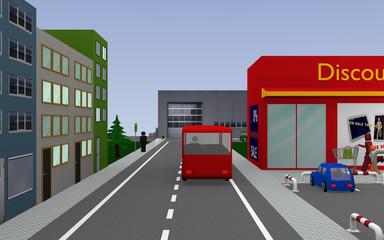 Stadtansicht mit Bushaltestelle und Bus, Firmenhalle und Häusern. 3d render