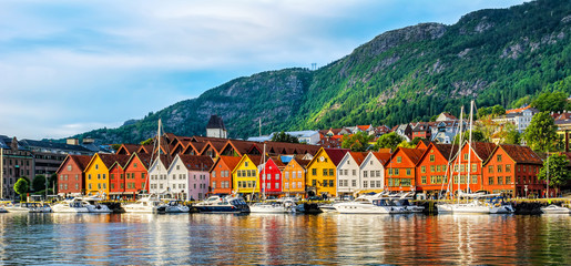 Acrylic Prints Europa Bergen, Norway. View of historical buildings in Bryggen- Hanseatic wharf in Bergen, Norway. UNESCO World Heritage Site