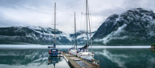 Yachts at the berth. Morning. Norway. Panorama