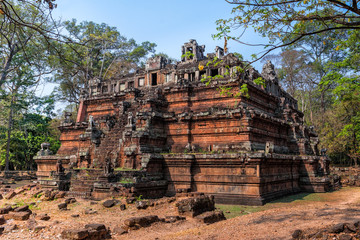 Phimeanakas (Celestial temple), or Vimeanakas, Hindu temple with shape of three tier pyramid inside the walled of the Royal Palace of Angkor Thom, Siem Reap, Cambodia