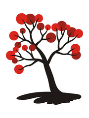 Tree with red fruits. Art picture