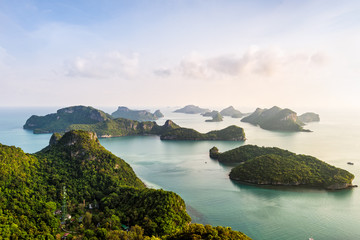 High angle view beautiful nature landscape of island and sea in the morning sky from Ko Wua Ta Lap viewpoint in Mu Ko Ang Thong National Marine Park, Surat Thani, Thailand