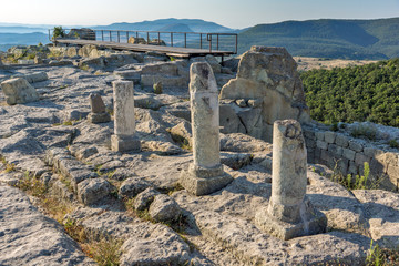 Sunrise view of The ancient Thracian city of Perperikon, Kardzhali Region, Bulgaria
