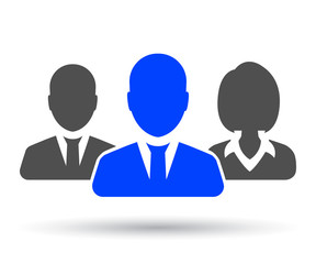 Teamwork, staff, partnership icon, three person - for stock