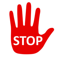Stop sign with hand - stock vector