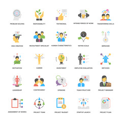Project Management Vector Icons Set In Flat Design