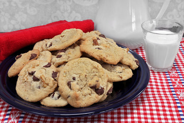 A batch of chocolate chip walnut cookies on a plate with a glass of milk.
