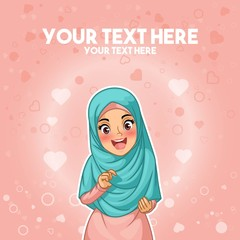 Muslim woman proud and happy with her hijab by holding her headscarf cartoon character design, against pink background, vector illustration.