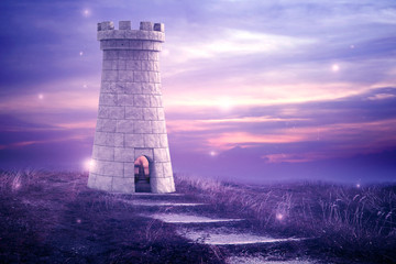 Magical Tower. Beautiful enchanted image with a castle tower and fireflies.