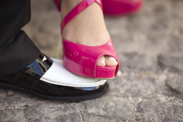 Bride Foot On The Groom Shoe