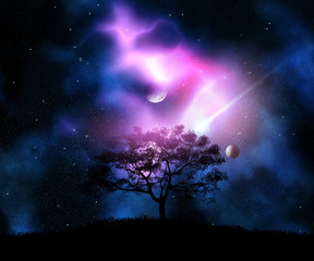 3D tree on a grassy hill against a space sky with planets