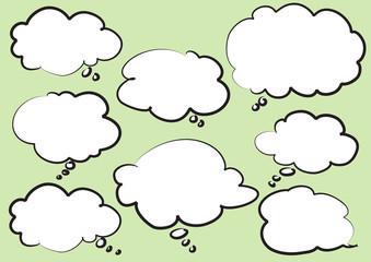 blank cloud and speech bubble