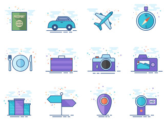 Travel icon series in flat color style. Vector illustration.