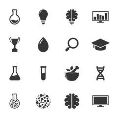 Laboratory, education, herbal, brain, monitor simple icon set vector design