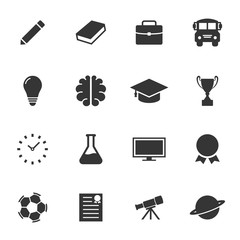 Education and space simple icon set vector design