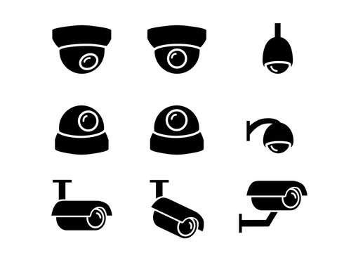 CCTV camera icons and symbol in silhouette, vector