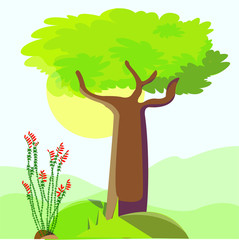 Vector illustration of a plant and tree. Colourful landscape biology picture.