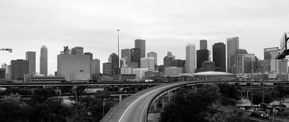 Monochrome Sky Over Downtown Houston Texas City Skyline Highway Transportation