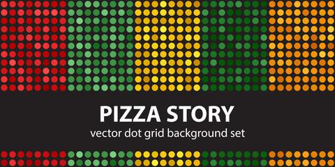 Polka dot pattern set Pizza Story. Vector seamless geometric dot backgrounds
