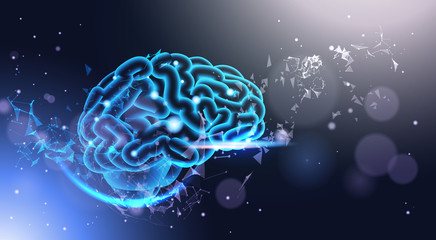 Glowing Human Brain On Poligonal Background With Shining Bokeh Light Low Poly Style Science, Medicine And Technology Concept Vector Illustration
