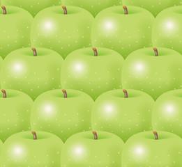Illustration of green apples. Seamless pattern.