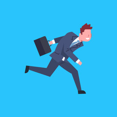 Business Man Running Hold Suitcase Male Office Worker Character Businessman Isolated Flat Vector Illustration