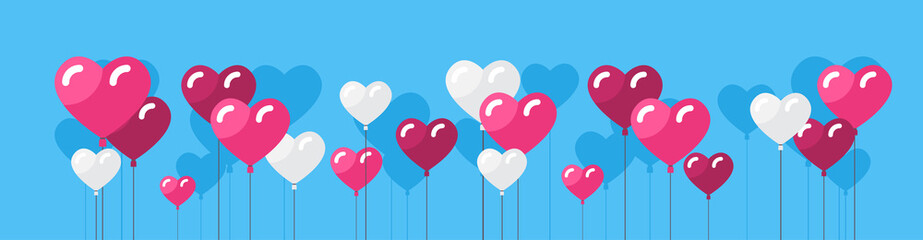 Heart Shape Air Balloons Valentines Day Background Concept Horizontal Banner Flat Vector Illustration