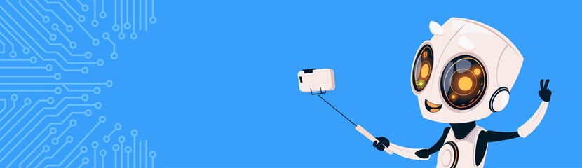 Wall Mural - Cute Robot Take Selfie Photo On Smart Phone Over Circuit Background Horizontal Bannner With Copy Space Flat Vector Illustration