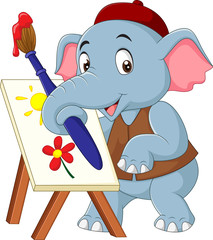 Cartoon cute elephant drawing a picture