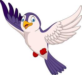 Cartoon bird flying isolated on white background