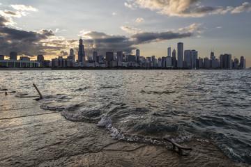 Sunset on Chicago Skyline