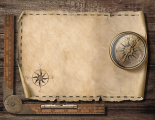 Foto op Plexiglas Wereldkaart Old blank map background with compass. Adventure and travel concept. 3d illustration.