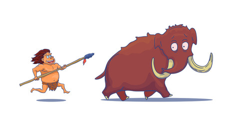 Cartoon Caveman with Spear hunting Mammoth. Vector