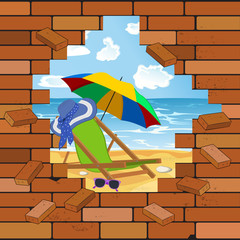 brick wall and beach in the crack, vector illustration