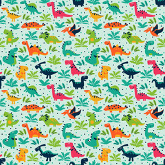 Vector seamless pattern with funny dinosaurs, clouds and trees