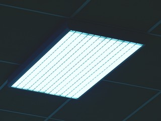 Ceiling of office building with lights. Industry house with blue  toned lighting