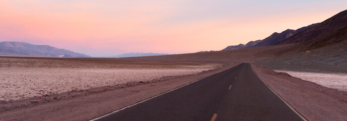 Long Road Sunrise Dawn Badwater Basin Death Valley