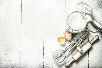 Tools and ingredients for the dough.