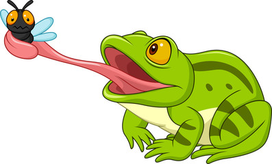 Cartoon frog catching fly
