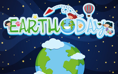 Earthday poster design with kids and earth