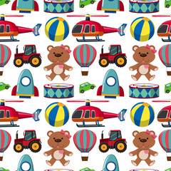 Seamless background with teddybears and other toys