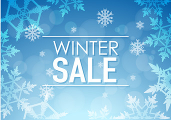 Winter sale poster design with snowflakes
