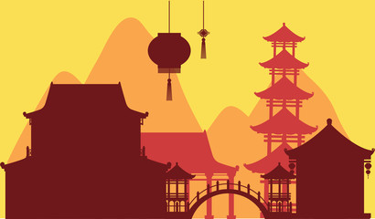 Chinese theme background with temple buildings