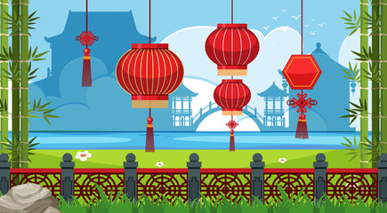 Chinese theme background with red lanterns