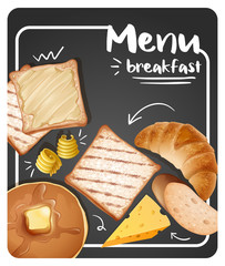 Different menu for breakfast on black background