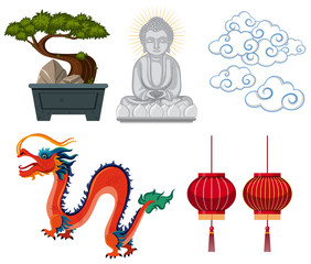 Asian antiques and decorations on white background