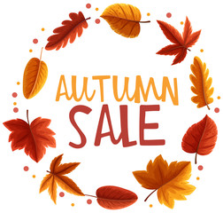 Autumn sale poster with orange leaves