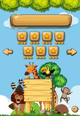 Game background template with wild animals in forest