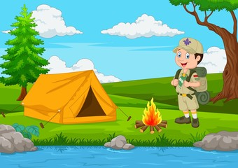 Cartoon scout with tent and fire