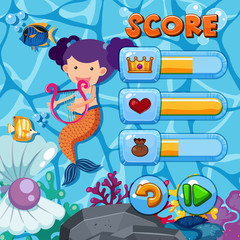 Game template with mermaid and fish in background